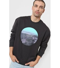 buzo negro levi's relaxed graphic crew fleece