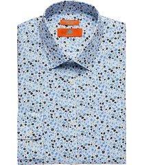 egara orange men's extreme slim fit dress shirt blue floral - size: 15 34/35