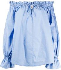 l'autre chose off-the-shoulder tied tunic - blue