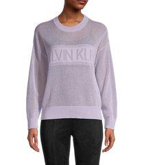 calvin klein women's logo open weave sweatshirt - opal - size m