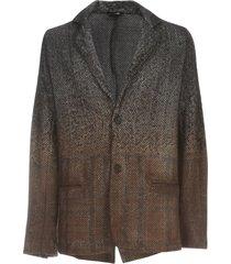 avant toi herringbone jacket with carded and needled check
