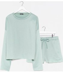 womens our day to day plus shorts lounge set - sage