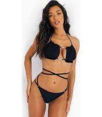 bikini broekje met bandjes en taille detail, black