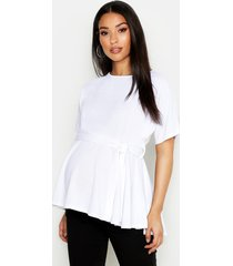 maternity batwing tie waist peplum top, white