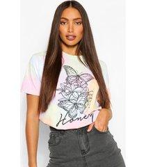 tall tie dye butterfly print t-shirt, lilac