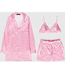 womens underneath the stars 3-pc pajama shorts set - pink