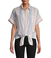 beach lunch lounge women's striped tie-waist shirt - cosmo - size xs