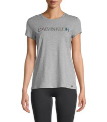 calvin klein women's logo-embossed cotton-blend t-shirt - heather granite - size s