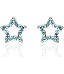 orecchini a lobo stella in argento e zirconi azzurri per donna