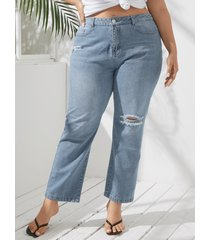 pantalones rotos al azar con diseño de bolsillo de talla grande yoins