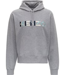 kenzo multicoloured logo patch hoodie