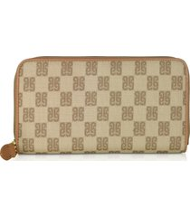 piero guidi beige monogram coated canvas zip-around womens wallet