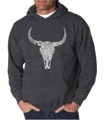 la pop art men's word art hooded sweatshirt - texas skull
