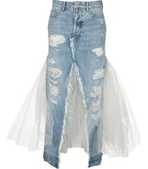 unravel distressed tulle long skirt