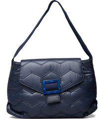 billow quilted wavy bags top handle bags blauw hvisk