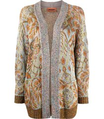 missoni sequin embellished retro print cardigan - brown