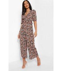 bloemenprint jumpsuit met ceintuur, black