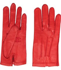 chanel pre-owned cc leather gloves - red