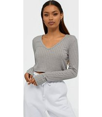 missguided rib lounge wide sleeve top sovplagg