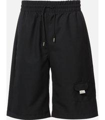 drôle de monsieur men's wool oversize shorts - black - l