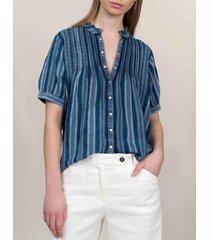 summum 2s2403-11159 ruffle top slvless indigo stripe dobby blauw