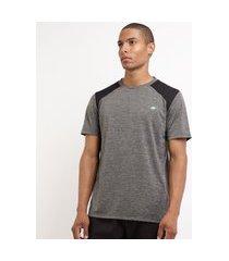 camiseta masculina esporte ace futebol com recortes manga curta gola careca cinza mescla