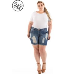 short plus size - confidencial extra boyfriend jeans destroyed