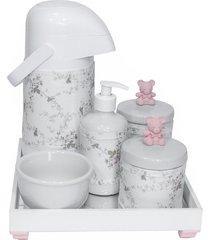 kit higiene espelho completo porcelanas, garrafa e capa ursinho rosa quarto beb㪠menina - rosa - menina - dafiti
