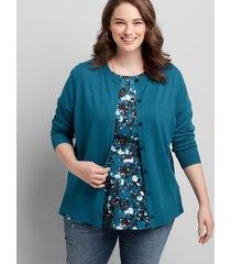 lane bryant women's button-front cardigan 26/28 teal