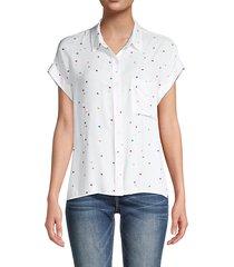 star-print spread collar shirt