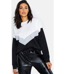 tall colour block sweater, zwart