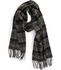 barbour merino wool & cashmere scarf in black/grey tartan at nordstrom