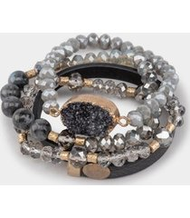 daria druzy leather bracelet set - gray