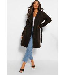 belted wool look coat
