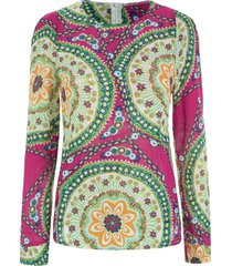 ladylike women's chiffon shirt with round neck floral print long sleeve design