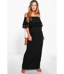 petite maxi jurk met boothals en zoomdetail, zwart