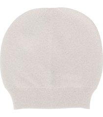 fabiana filippi round top fine knit beanie hat - white