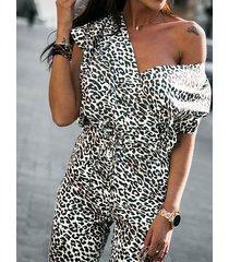 diseño cruzado con estampado de serpiente de leopardo monos de manga corta