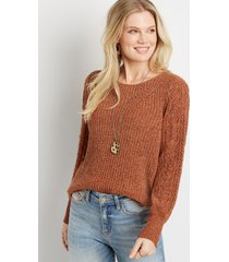 maurices womens chenile pointelle sleeve pullover sweater brown