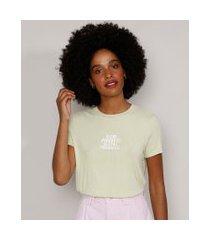 "camiseta feminina manga curta canelada slow progress"" decote redondo verde claro"""