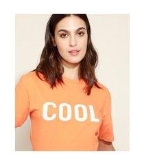 "t-shirt feminina mindset cool"" manga curta decote redondo laranja"""