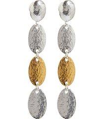 gurhan 24kt gold mango stiletto drop earrings - silver