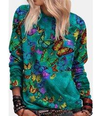 camicetta casual da donna con scollo a manica lunga stampa farfalle
