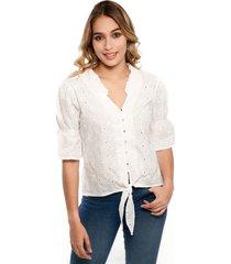 blusa manga corta de anudar rosetas