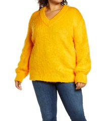 plus size women's bp. fuzzy v-neck tunic sweater, size 1x - orange