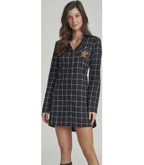 pijama camisão xadrez de viscose 12239 cor com amor
