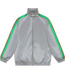 gucci reflective side stripe track jacket - silver