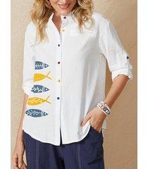 camicetta casual manica lunga con colletto alla coreana con bottoni con stampa pesce