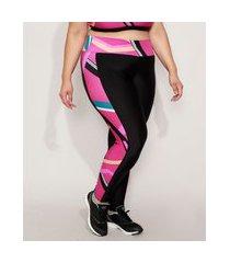 calça legging feminina plus size esportiva ace cintura alta com recorte estampado geométrico preta