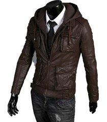handmade new men stylish hooded with multi pockets leather jacket,leather jacket